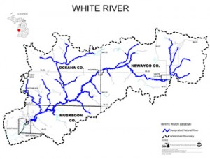 White River Map from headwaters to Whitehall