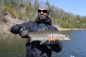 Jonathan, from west Michigan, with one of his catches from his spring steelhead outing on the Muskegon river.