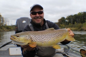 Clint with Manistee river Brown trout